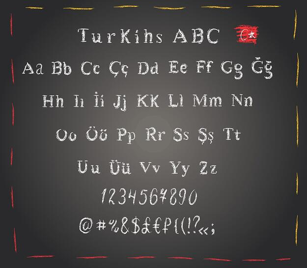 The Turkish language written in Latin alphabet