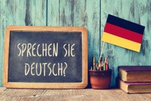 sprechen sie deutsch? do you speak german? on a blackboard