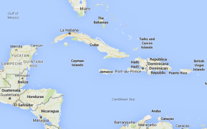 A map of the Caribeean featuring Jamaica