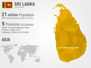 Map of Sri Lanka with country facts