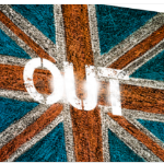 uk flag with brexit out in white