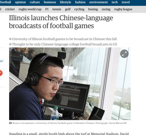 Football Games in Chinese Language: a US university launching Chinese language broadcasts